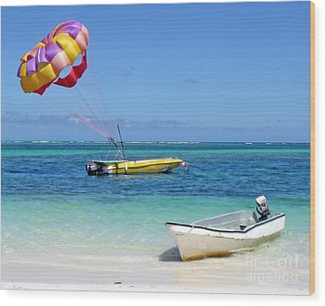 Colorful Parachute - Waiting To Parasail Wood Print by Val Miller