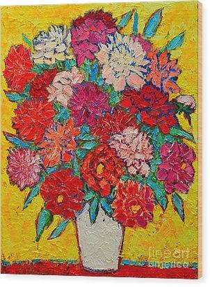 Colorful Peonies Wood Print by Ana Maria Edulescu