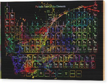 Colorful Periodic Table Of The Elements On Black With Water Splash Wood Print