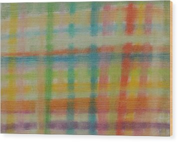Wood Print featuring the drawing Colorful Plaid by Thomasina Durkay