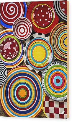Colorful Plates Wood Print by Garry Gay