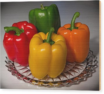 Colorful Platter Wood Print by Shane Bechler