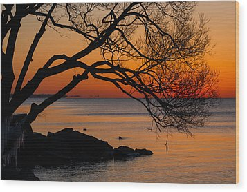 Colorful Quiet Sunrise On Lake Ontario In Toronto Wood Print