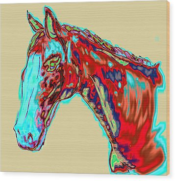 Colorful Race Horse Wood Print by Mark Moore