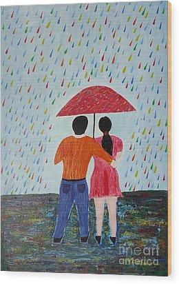 Colorful Rain Wood Print by Jnana Finearts