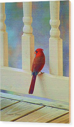 Colorful Redbird Wood Print by Kenny Francis