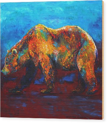 Colorful Reflections Bear Painting Wood Print