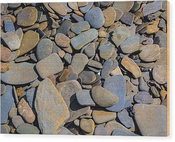 Colorful River Rocks Wood Print by Photographic Arts And Design Studio