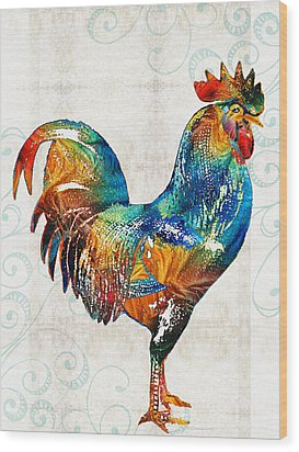 Colorful Rooster Art By Sharon Cummings Wood Print by Sharon Cummings