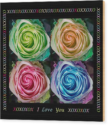 Colorful Rose Spirals With Love Wood Print by James BO  Insogna