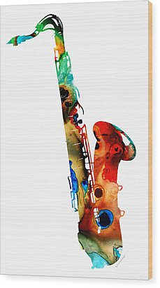 Colorful Saxophone By Sharon Cummings Wood Print by Sharon Cummings
