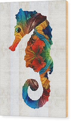 Colorful Seahorse Art By Sharon Cummings Wood Print by Sharon Cummings