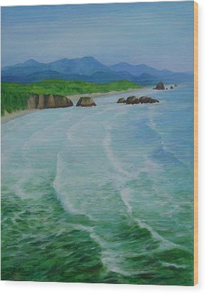 Colorful Seascape Oregon Cannon Beach Ecola Landscape Art Painting Wood Print
