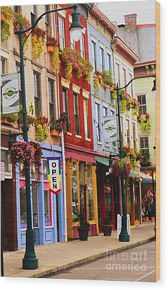 Colorful Shops Wood Print by Jennifer Kelly