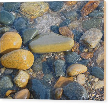 Colorful Shore Rocks Wood Print by Mary Bedy