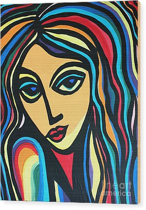 Colorful Stare Wood Print by Cynthia Snyder