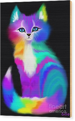 Colorful Striped Rainbow Cat Wood Print