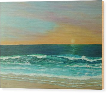 Colorful Sunset Beach Paintings Wood Print by Amber Palomares