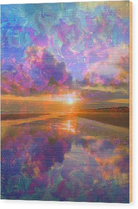Colorful Sunset By Jan Marvin Wood Print