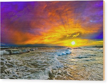 Wood Print featuring the photograph Colorful Sunset In Destin Beach Florida With Red Clouds by eSzra