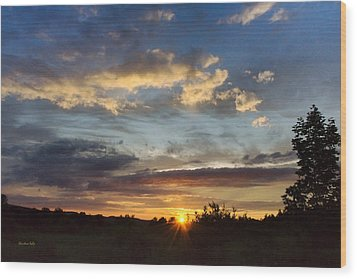 Colorful Sunset Landscape Wood Print by Christina Rollo