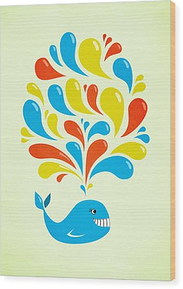 Colorful Swirls Happy Cartoon Whale Wood Print