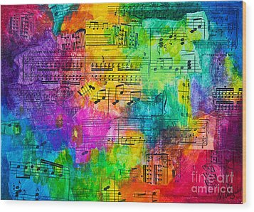 Wood Print featuring the mixed media Colorful Symphony by Melissa Sherbon