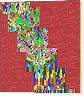 Colorful Tree Of Life Abstract Red Sparkle Base Wood Print by Navin Joshi