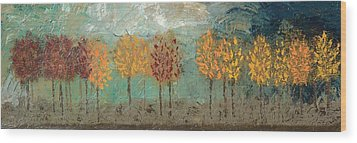 Colorful Trees Wood Print by Linda Bailey