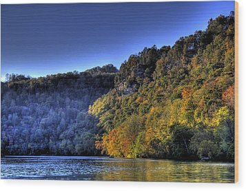 Wood Print featuring the photograph Colorful Trees Over A Lake by Jonny D