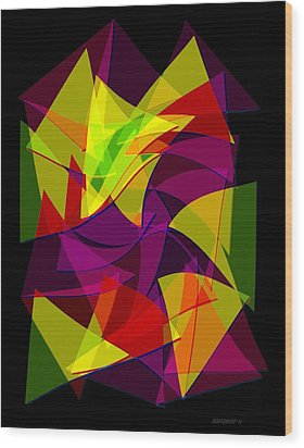 Colorful Triangles Geometric Art Designs Wood Print by Mario Perez