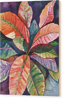 Colorful Tropical Leaves 1 Wood Print