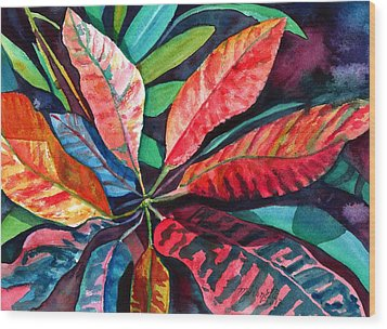 Colorful Tropical Leaves 2 Wood Print
