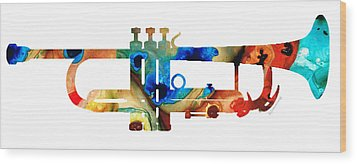 Colorful Trumpet Art By Sharon Cummings Wood Print by Sharon Cummings