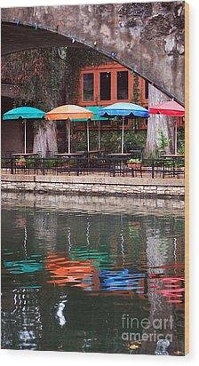 Colorful Umbrellas Reflected In Riverwalk Under Footbridge San Antonio Texas Vertical Format Wood Print by Shawn O'Brien