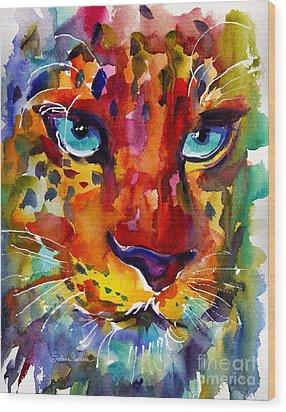 Colorful Watercolor Leopard Painting Wood Print by Svetlana Novikova