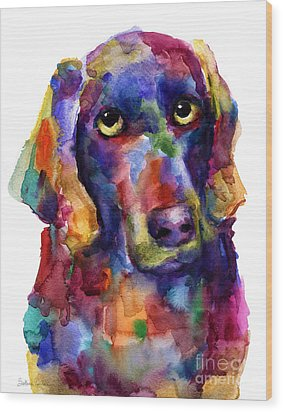 Colorful Weimaraner Dog Art Painted Portrait Painting Wood Print