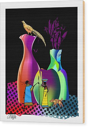 Wood Print featuring the digital art Colorful Whimsical Stll Life by Arline Wagner