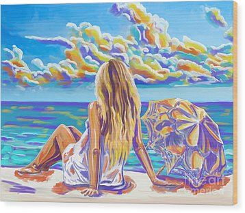 Colorful Woman At The Beach Wood Print