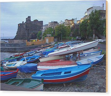 Colorful Wooden Fishing Boats Of Aci Castello Sicily With 11th Century Norman Castle Wood Print by Jeff at JSJ Photography