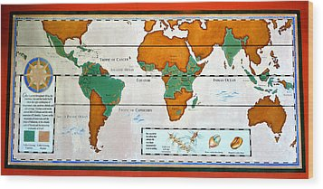 Colorful World Map Of Coffee Wood Print