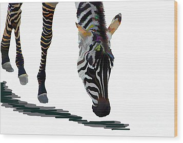 Wood Print featuring the digital art Colorful Zebra 2 by Teresa Zieba