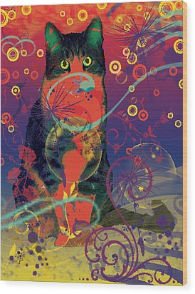 Colorfur Cat Wood Print by Eva Csilla Horvath