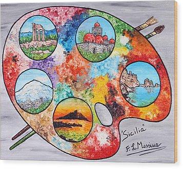 Colori Di Sicilia Wood Print by Loredana Messina