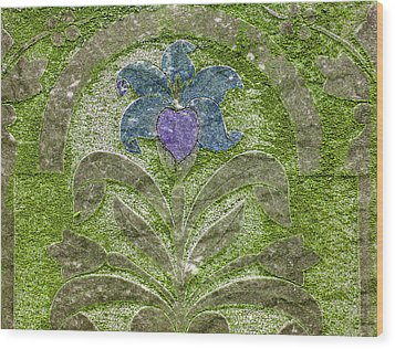 Colorized Moss Covered Gravestone  Wood Print by Jean Noren