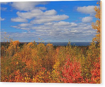 Colors Above Lake Superior Wood Print by Rachel Cohen