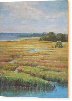 Wood Print featuring the painting Colors In The Marsh by Pam Talley