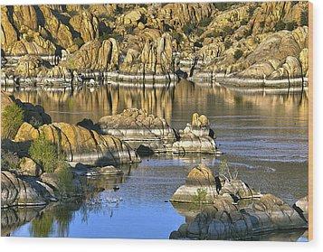Colors In The Rocks At Watsons Lake Arizona Wood Print by James Steele