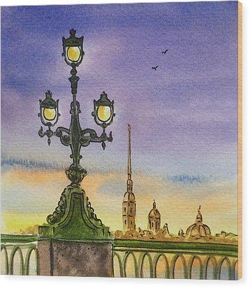 Colors Of Russia Bridge Light In Saint Petersburg Wood Print by Irina Sztukowski
