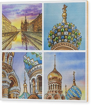 Colors Of Russia Church Of Our Savior On The Spilled Blood  Wood Print by Irina Sztukowski